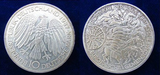Les 30 ans du Traité de Rome célébrés sur le deutschmark en Allemagne. Berlin-George/Wikimedia, CC BY-SA